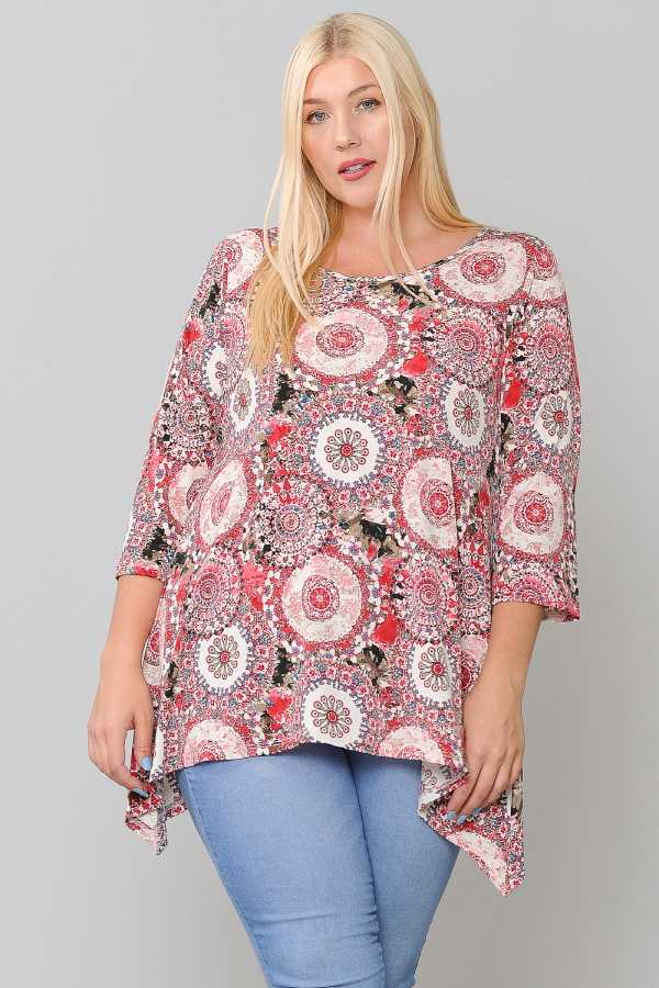 PLUS SIZE DETAILED 2/3 SLEEVE TUNIC TOP