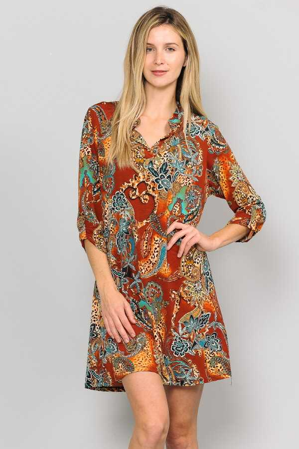 PLUS SIZE ROLL TAB SLEEVE MULTI PRINT DRESS WITH POCKETS