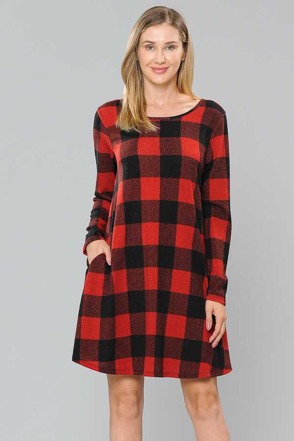 PLUS SIZE CHECKER PRINT DRESS WITH POCKETS