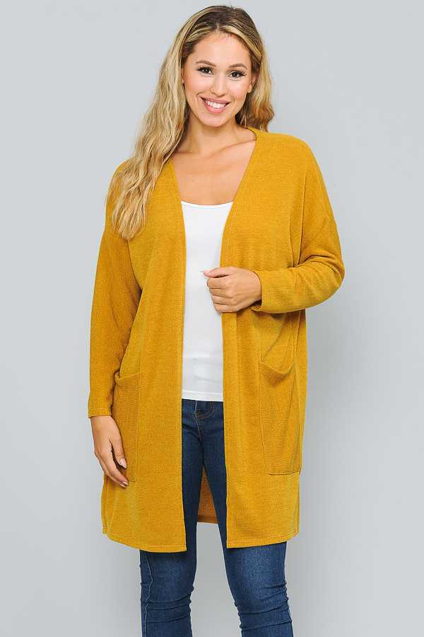 SOLID OPEN KNIT CARDIGAN WITH POCKETS