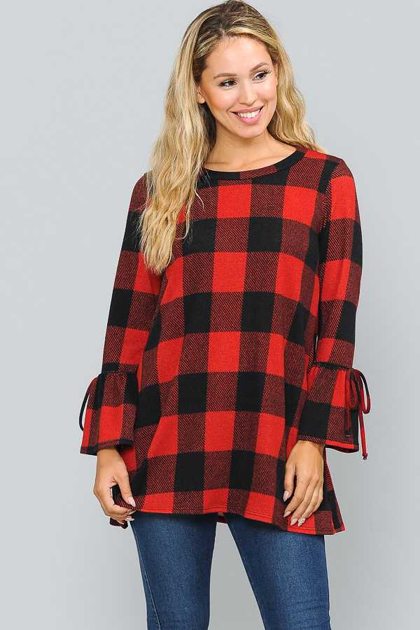 PLUS SIZE RIBBON SLEEVE CHECKER PRINT KNIT TOP