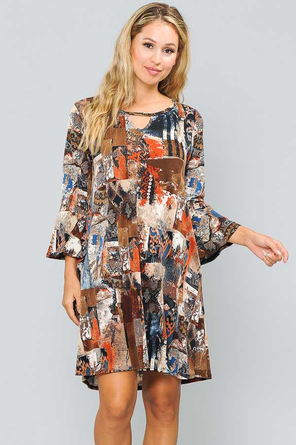 PLUS SIZE-RUFFLE SLEEVE MULTI PRINT DRESS