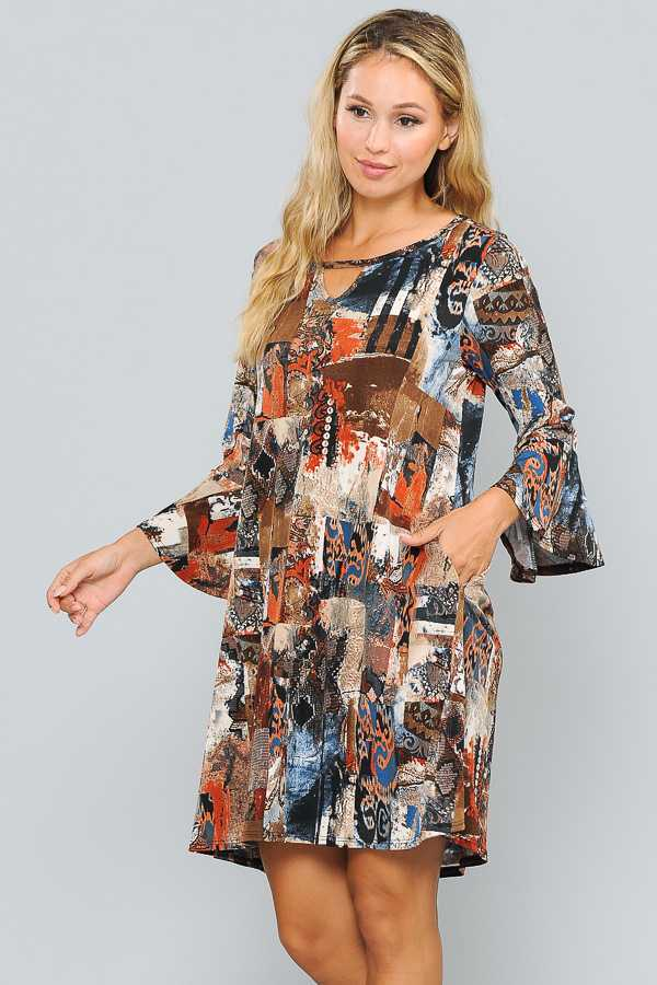 RUFFLE SLEEVE MULTI PRINT DRESS