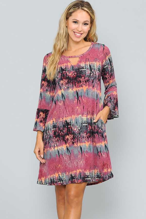 RUFFLE SLEEVE MULTI PRINT DRESS WITH POCKETS
