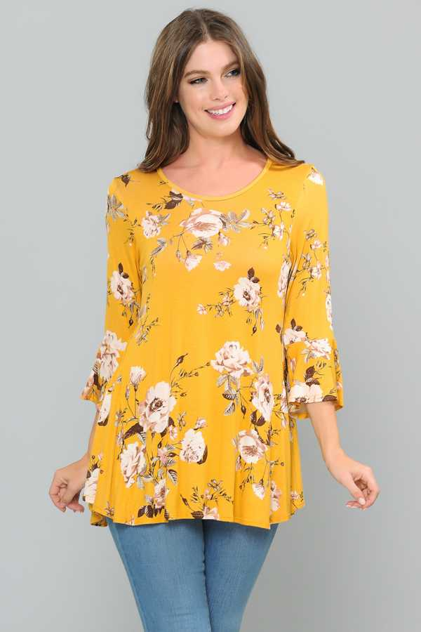 PLUS SIZE FLORAL PRINT RUFFLED SLEEVE TUNIC TOP