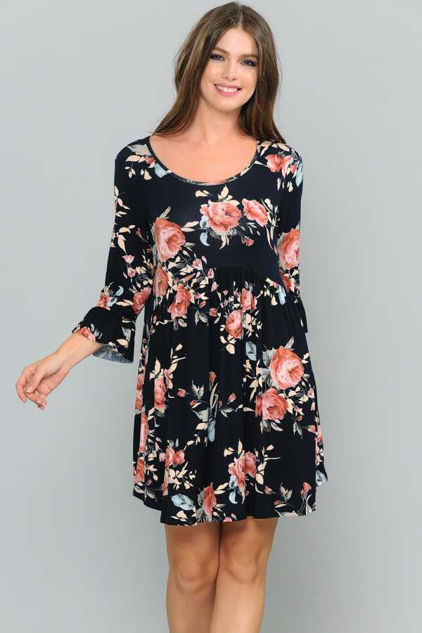 FLORAL PRINT RUFFLE DETAILED DRESS