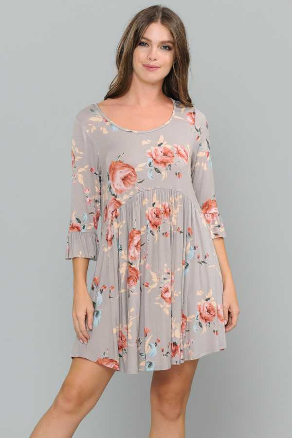 PLUS SIZE FLORAL PRINT RUFFLE DETAILED DRESS