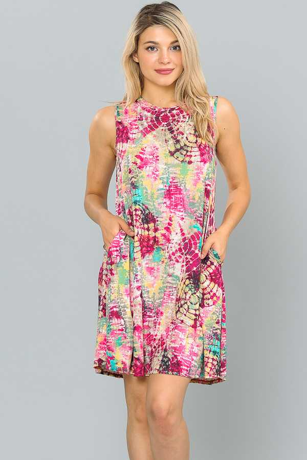 PLUS SIZE SLEEVELESS MULTICOLOR DRESS WITH POCKETS