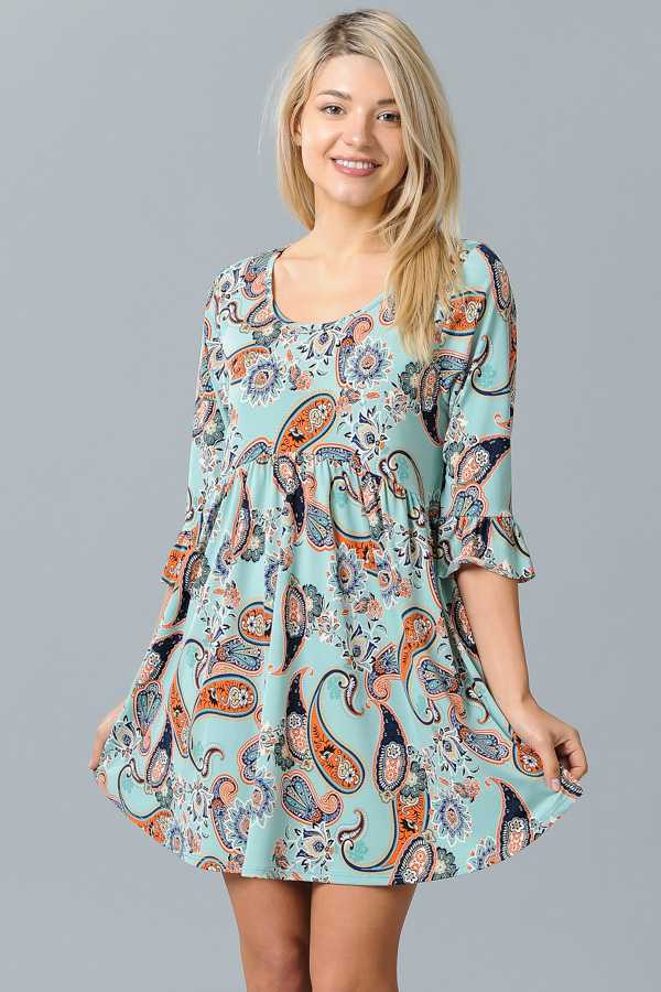 PLUS SIZE PAISLEY PRINT PLEATED DRESS
