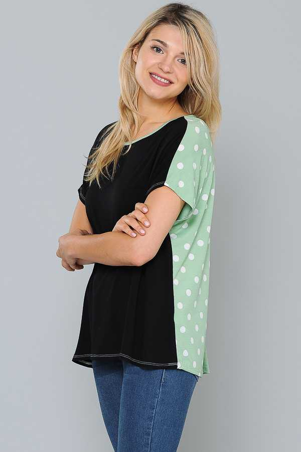 PLUS SIZE POLKA DOT PRINT COLORBLOCKED TOP