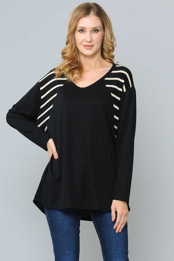 PLUS SIZE STRIPED CONTRAST LONG SLEEVE TOP