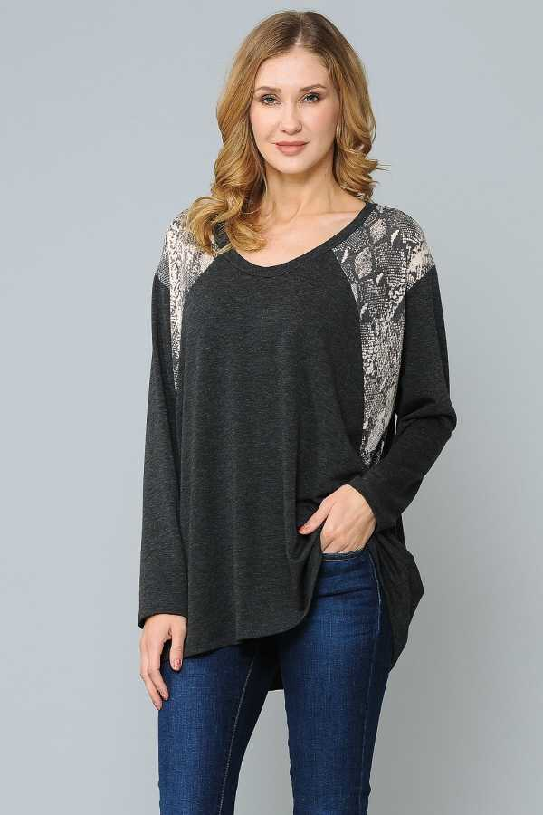 PLUS SIZE SNAKESKIN CONTRAST LONG SLEEVE TOP
