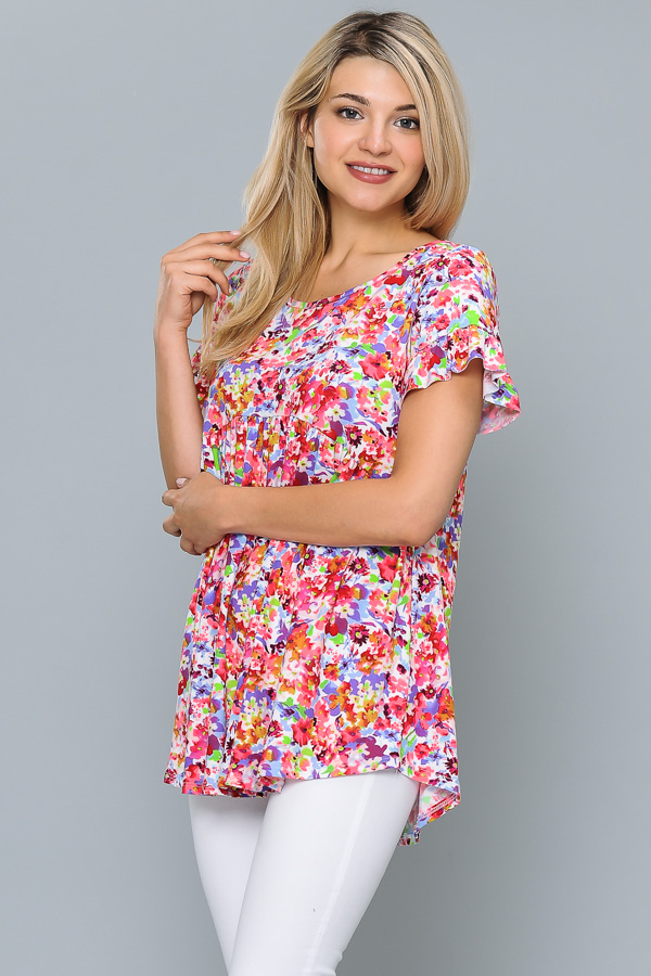 PLUS SIZE FLORAL RUFFLED DETAILED TUNIC TOP