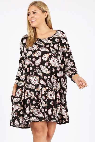PLUS SIZE PAISLEY PRINT DRESS WITH POCKETS