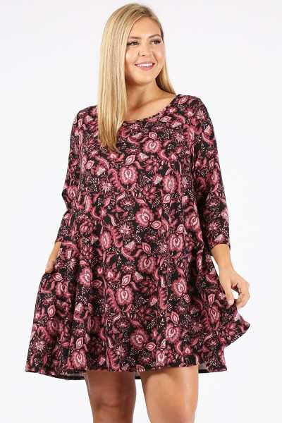 PLUS SIZE MULTI PRINT DRESS WITH POCKETS