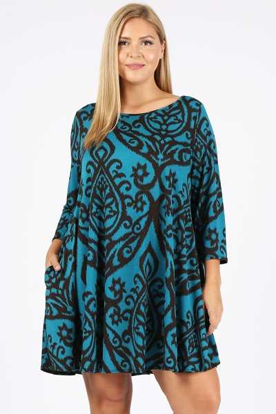 PLUS SIZE BAROQUE PRINT DRESS WITH POCKETS