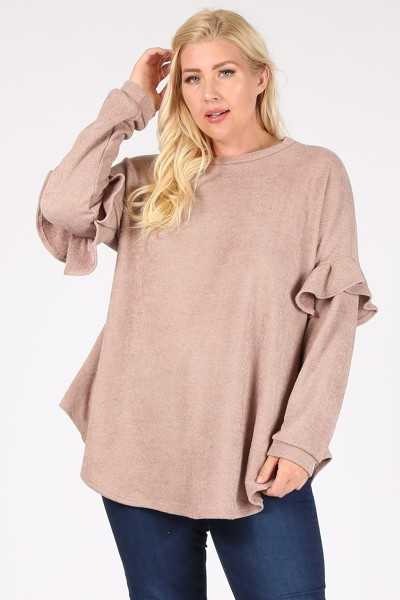 PLUS SIZE-RUFFLE LONG SLEEVE TUNIC TOP