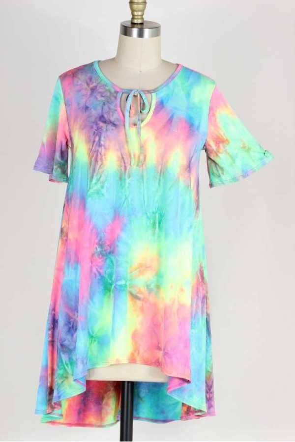 PLUS SIZE-TIE DYE PRINT TUNIC TOP