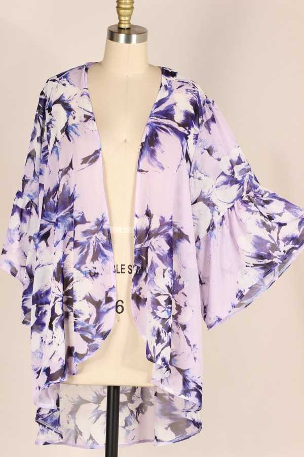 PLUS SIZE-BELL SLEEVE FLORAL PRINT WOVEN CARDIGAN