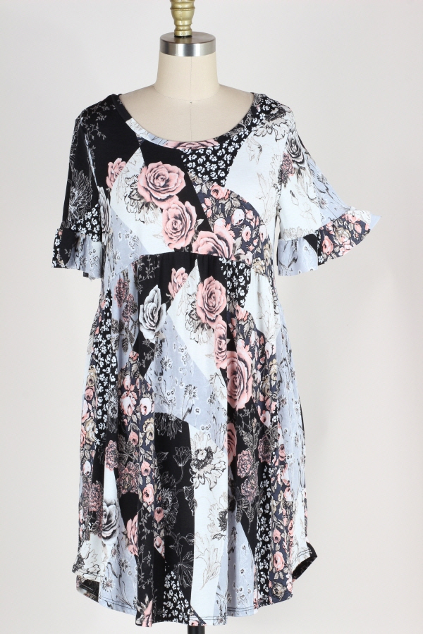 PLUS SIZE RUFFLE SLEEVE MULTI FLORAL PRINT DRESS WITH POCKETS