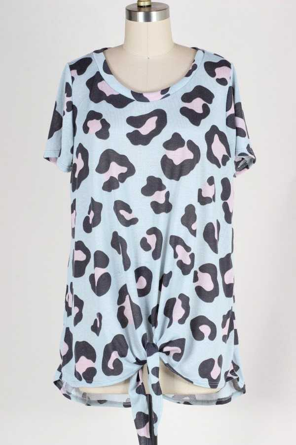 PLUS SIZE KNOTTED HEM LEOPARD PRINT TUNIC TOP