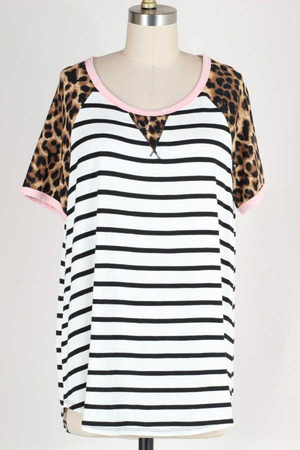 PLUS SIZE STRIPED LEOPARD PRINT CONTRAST TUNIC TOP