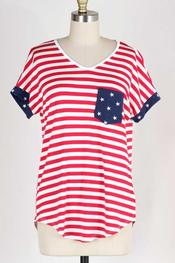 FLAG PRINT CONTRAST POCKET TUNIC TOP