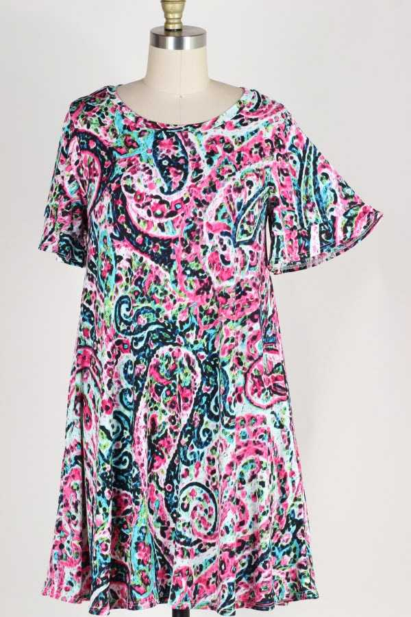 PLUS SIZE RUFFLE SLEEVE MULTI PRINT DRESS WITH POCKETS
