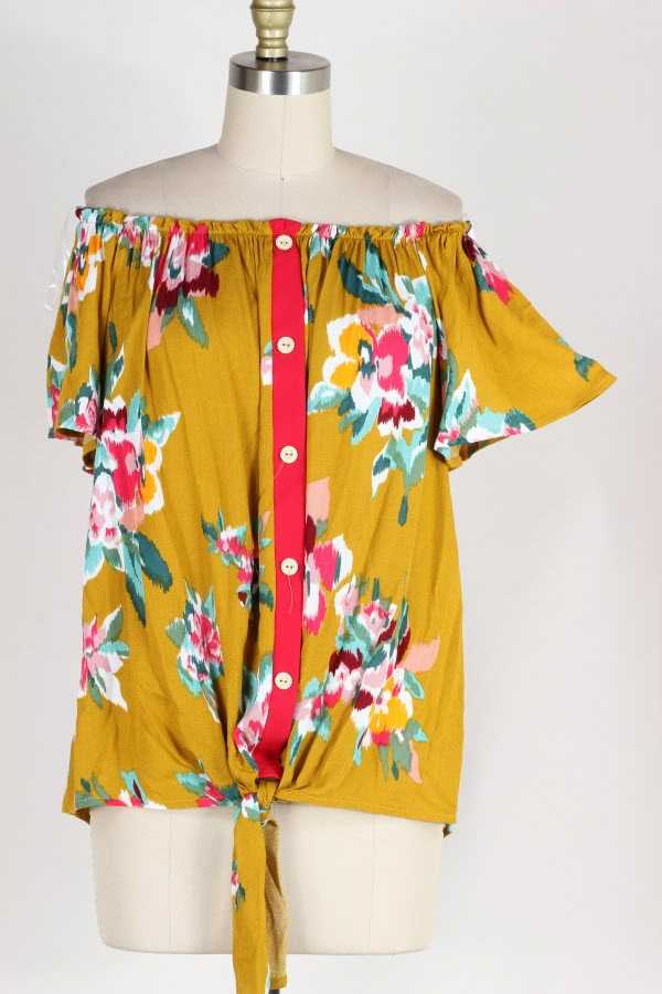 PLUS SIZE KNOTTED HEM OFF SHOULDER FLORAL PRINT BUTTONED TOP