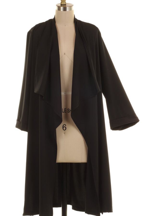 PLUS SIZE SIDE BUTTON DETAIL SHAWL COLLAR LONG OPEN JACKET