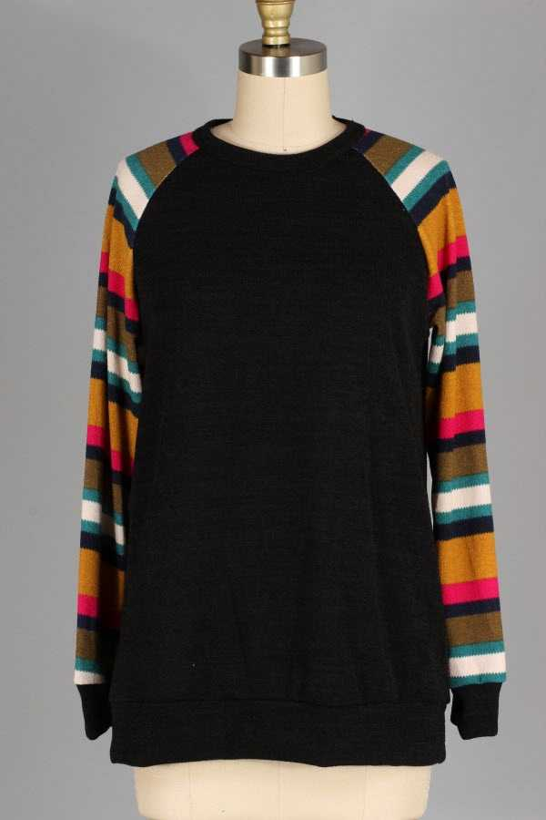 PLUS SIZE STRIPED SLEEVE KNIT TOP