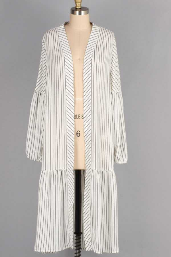BUBBLE SLEEVE STRIPED OPEN MAXI CARDIGAN