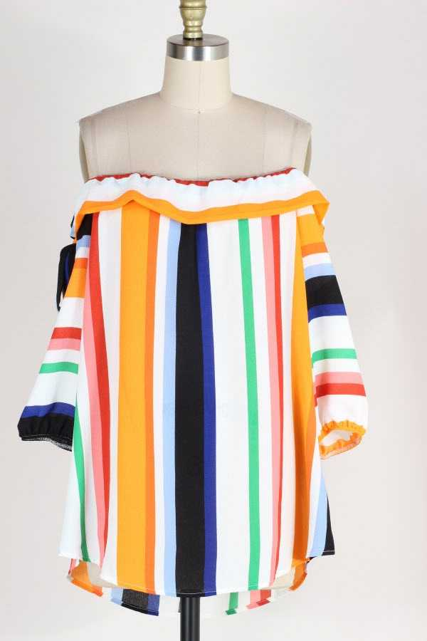 PLUS SIZE OFF SHOULDER STRIPED TUNIC TOP