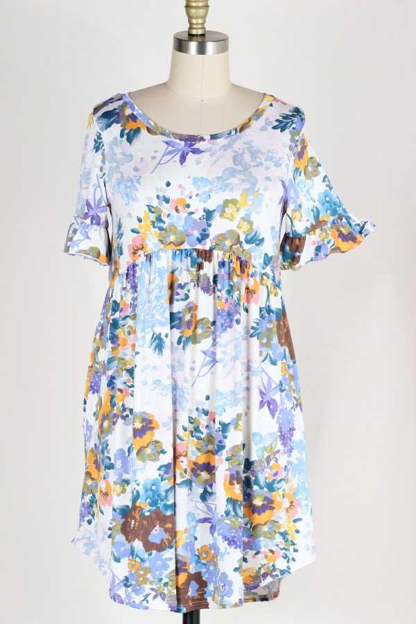 PLUS SIZE RUFFLED FLORAL PRINT DRESS WITH POCKETS