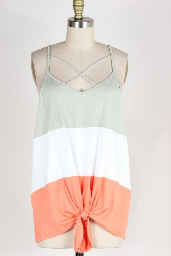 KNOTTED HEM COLOR BLOCK TUNIC TOP