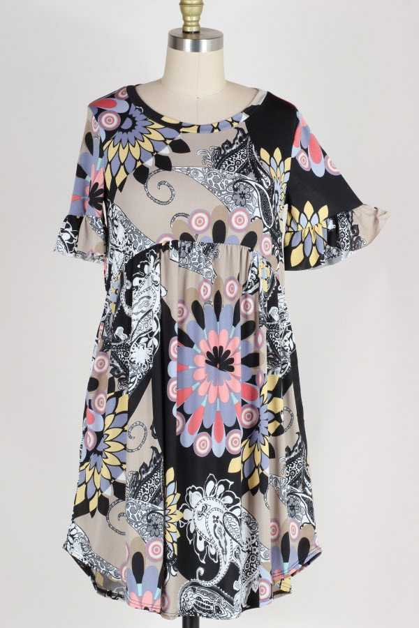 PLUS SIZE RUFFLED MULTI PRINT DRESS WITH POCKETS