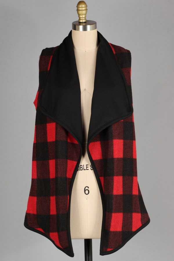 PLUS SIZE CHECKER PRINT CONTRAST KNIT VEST