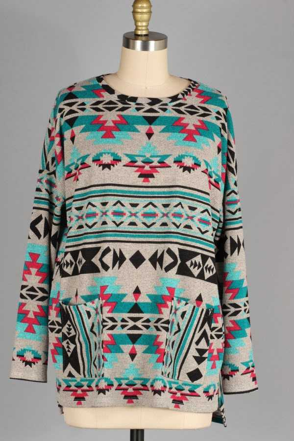 PLUS SIZE AZTEC PRINT KNIT TOP WITH POCKETS