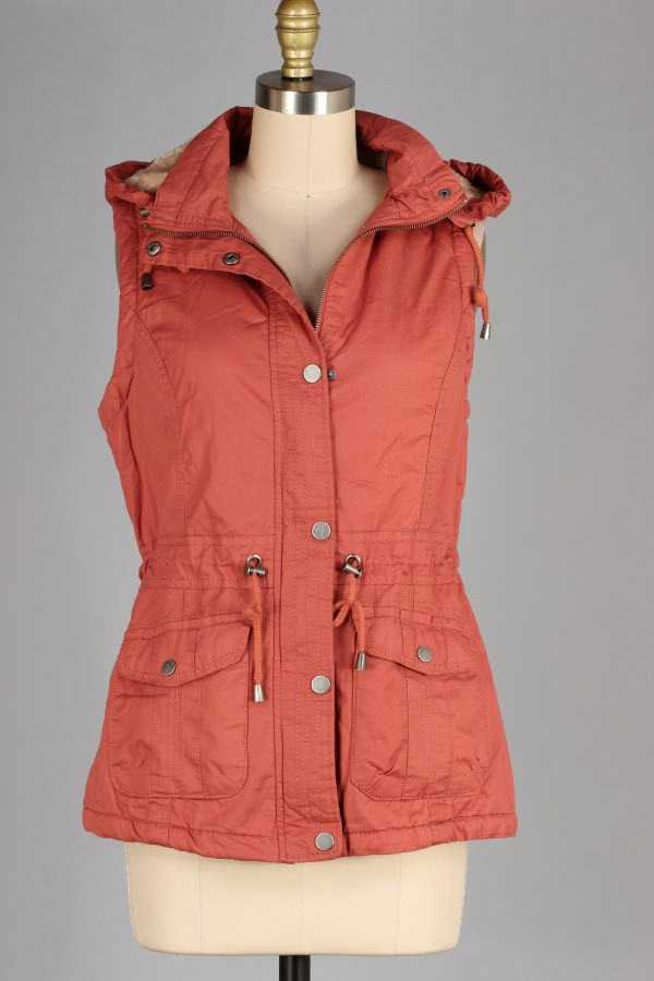 FAUX FUR LINED SOLID BUTTONED ZIP UP HOODED VEST
