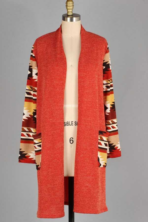 AZTEC PRINT CONTRAST KNIT CARDIGAN WITH POCKETS