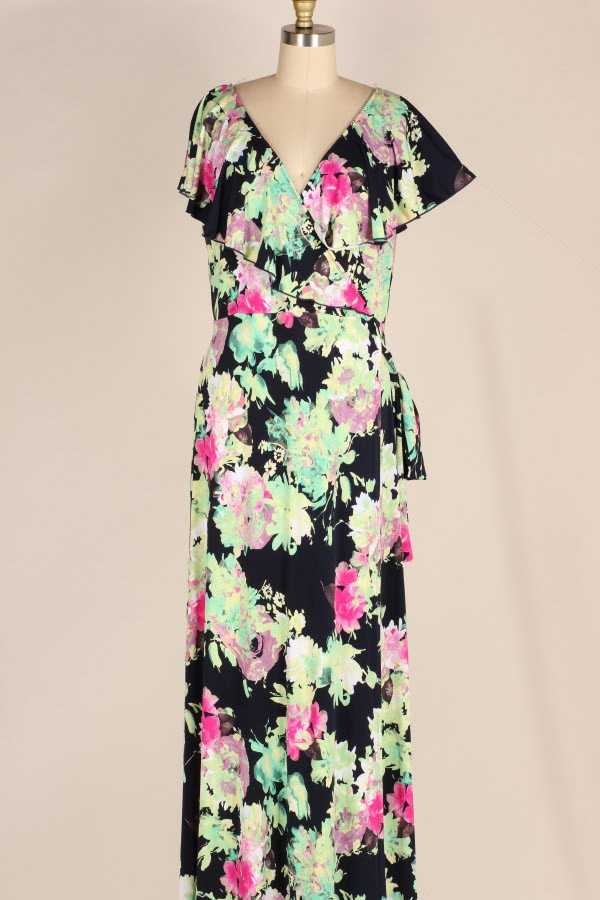 PLUS SIZE RIBBON TIED RUFFLED FLORAL PRINT WRAP MAXI DRESS