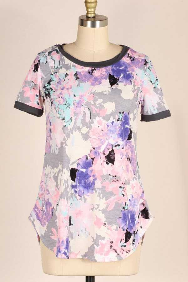 PLUS SIZE CONTRAST TRIM FLORAL PRINT TUNIC TOP