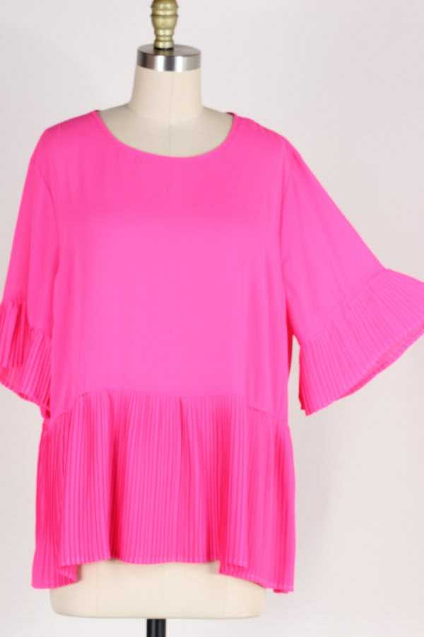 PLUS SIZE SOLID RIBBED TUNIC TOP