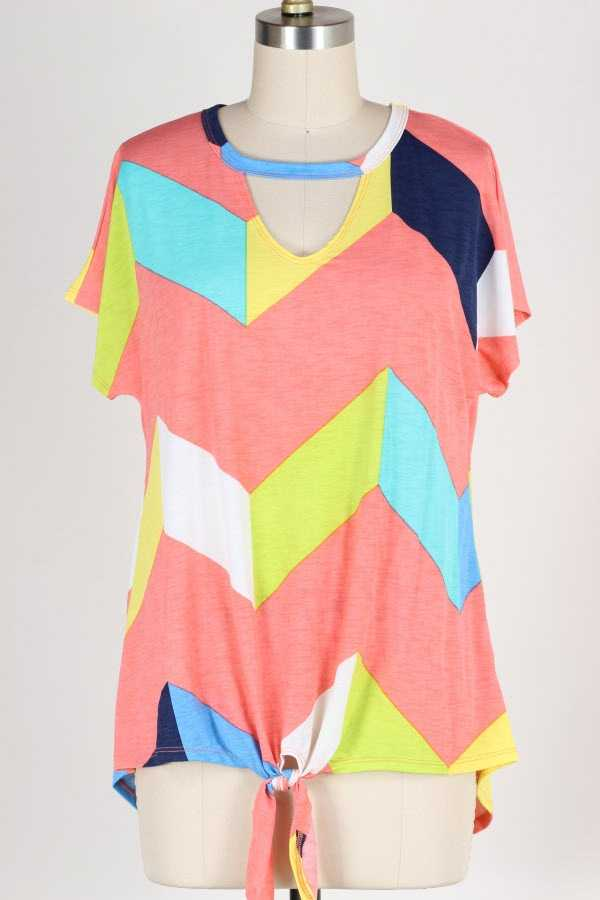KNOTTED HEM CHEST CUTOUT GEO PRINT TUNIC TOP