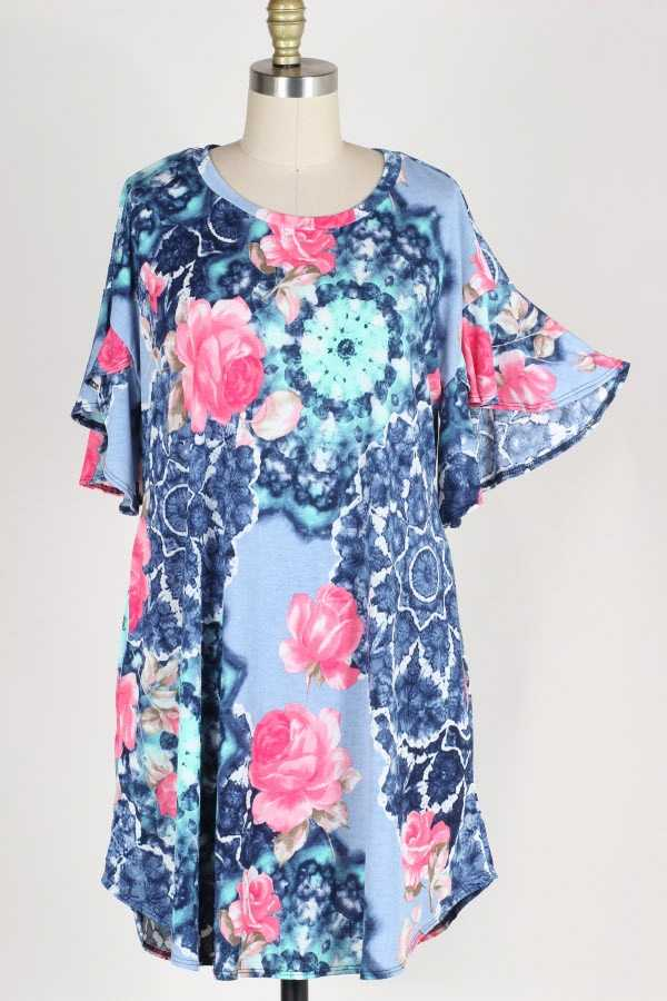 PLUS SIZE RUFFLE SLEEVE FLORAL PRINT DRESS WITH POCKETS