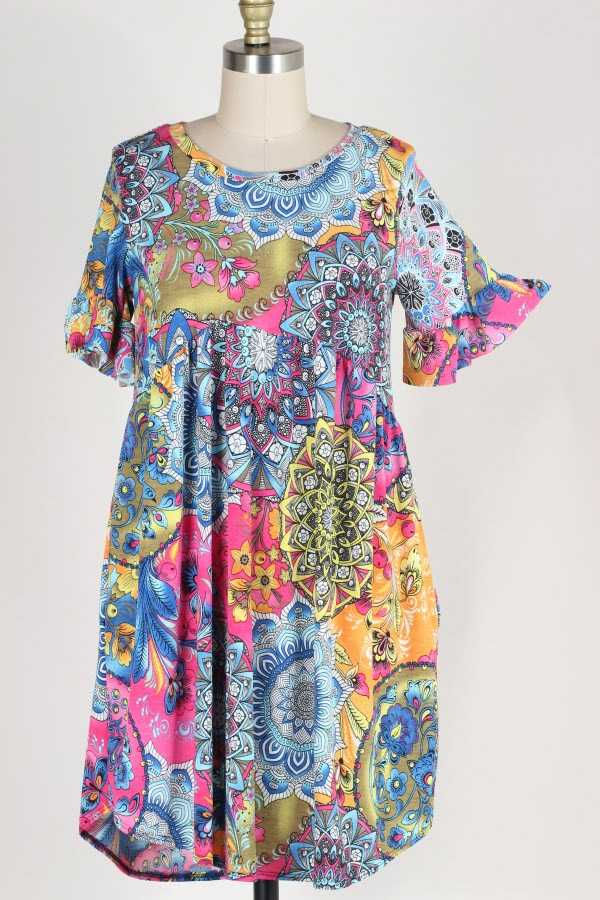 PLUS SIZE RUFFLE SLEEVE MANDALA PRINT DRESS WITH POCKETS