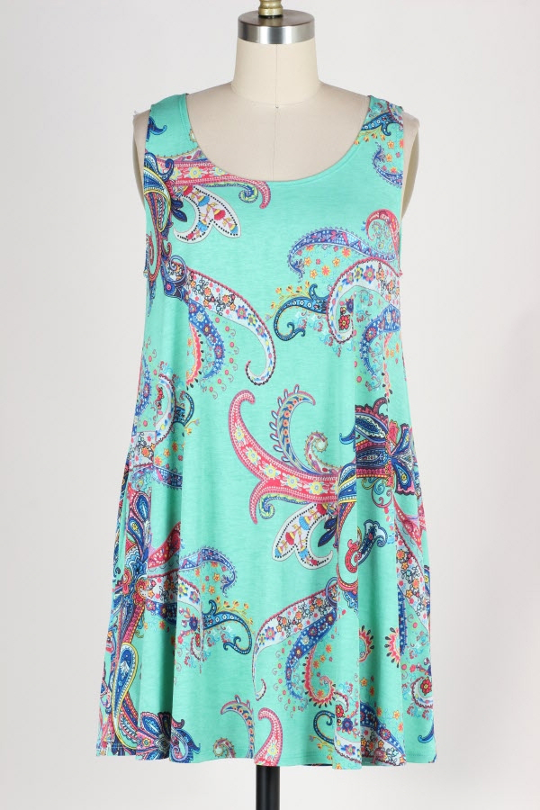 PLUS SIZE PAISLEY PRINT SLEEVELESS DRESS WITH POCKETS