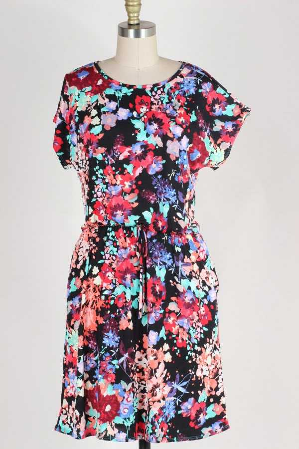 DRAWSTRING WAIST FLORAL PRINT DRESS WITH POCKETS
