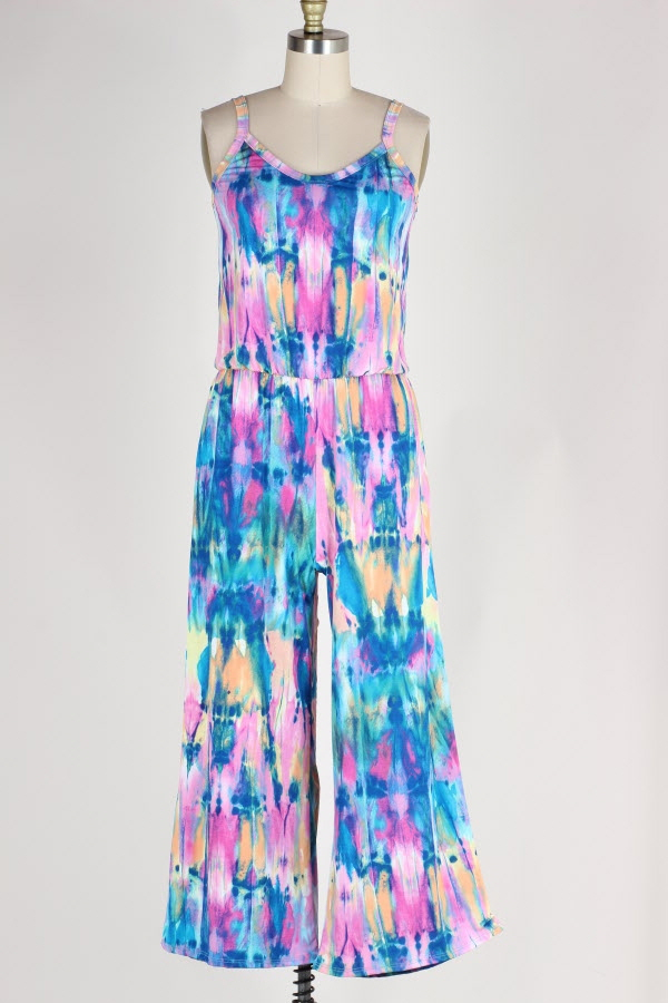 DRAWSTRING WAIST TIE DYE PRINT JUMPSUIT WITH POCKETS