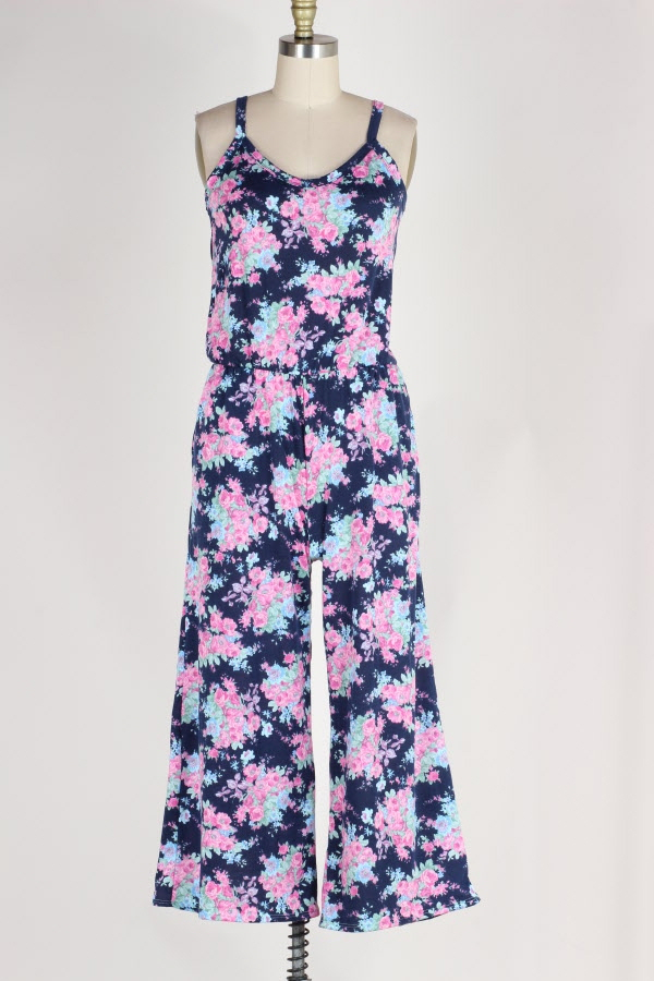 DRAWSTRING WAIST FLORAL PRINT JUMPSUIT WITH POCKETS